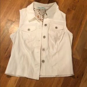 Women's White denim vest